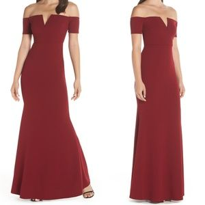 Lynne Burgundy Off the Shoulder Maxi Dress